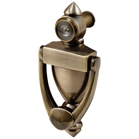 Prime-Line® Door Knocker And Viewer, 180 Degree, Antique Brass, S 4235