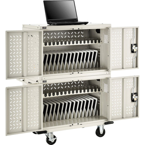 32-Device Charging Cart for Chromebooks™ Laptops and iPad® Tablets, Putty, Unassembled