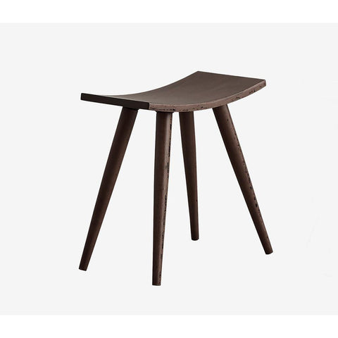 18 in.In Espresso Wood Mid Century Saddle Stool