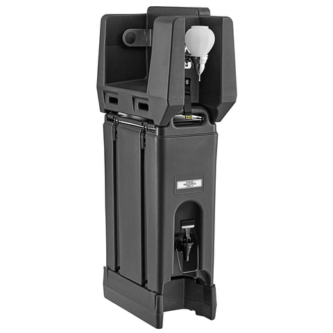 Cambro 4.75 Gallon Black Portable Handwash Station with Soap and Roll Paper Towel Dispenser and Riser