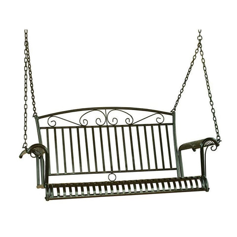 Iron Patio Porch Swing in Black