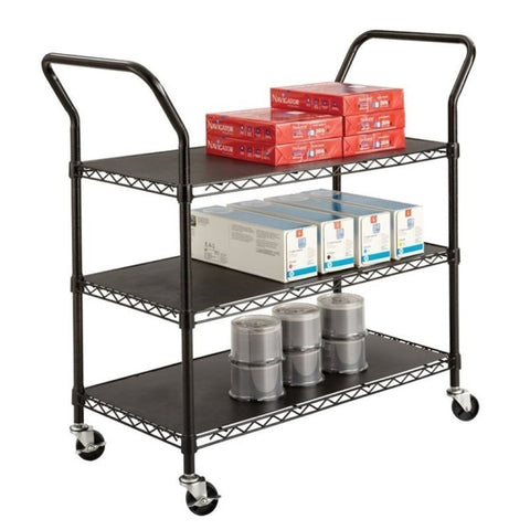 3 Shelf Wire Utility Transport Cart in Black