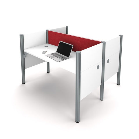 2 Person Workstation in White and Red