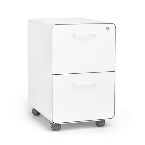 Poppin Stow 2-Drawer Vertical Filing Cabinet-white