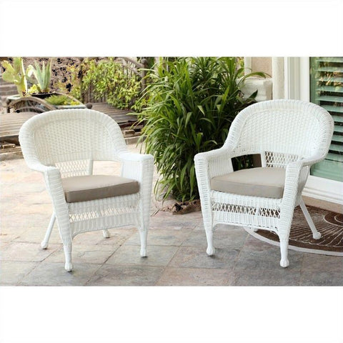 Jeco Wicker Chair in White with  Cushion (Set of 2)