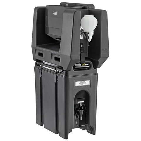 Cambro 2.5 Gallon Black Portable Handwash Station with Soap and Multi Fold Paper Towel Dispenser