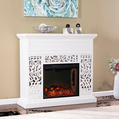 Silver Orchid Westmont Contemporary White Wood Alexa Smart Fireplace