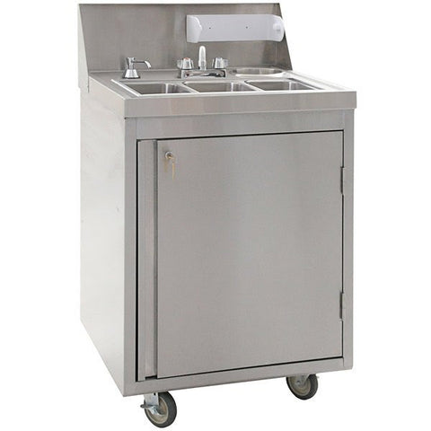 "Eagle Group PHS-S3-C 26"" Stainless Steel Three Compartment Cold Water Portable Sink"