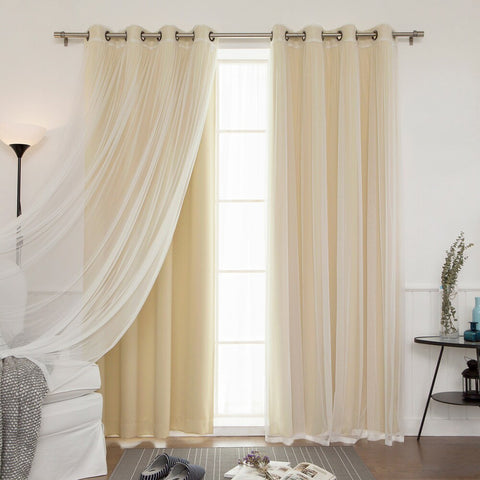 "Aurora Home Mix & Match Blackout Tulle Lace Bronze Grommet 4 Piece Curtain Panel Set - 52""W x 84""L"