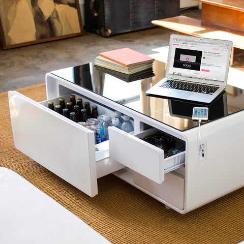 Smart Coffee Table with Storage: refrigerator