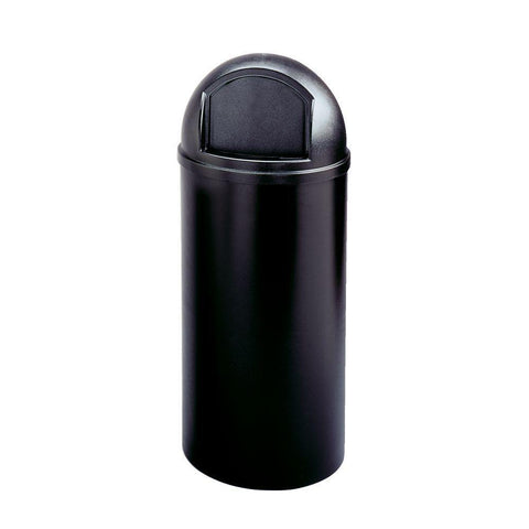 Marshal 15 Gal. Black Classic Round Top Trash Can