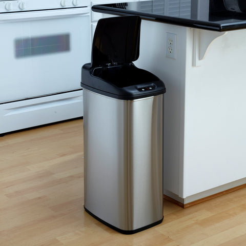1   Nine Stars DZT-50-6 Touchless Stainless Steel 13.2 Gallon Trash Can