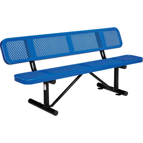 6 ft. Outdoor Steel Picnic Bench with Backrest - Perforated Metal - Blue