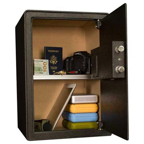 "Tracker Safe Security Safe S19 With Biometric Lock & Keyed Lock 13-3/4""Wx12-1/4""Dx19-5/8""H Black"