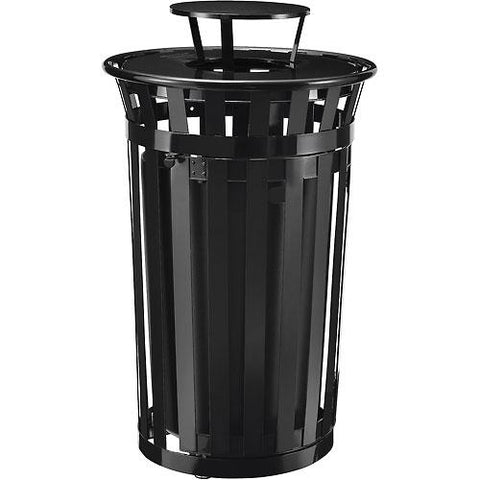 Global Industrial™ Outdoor Metal Slatted Waste Receptacle w/Access Door,Rain Bonnet - 36 Gal BK
