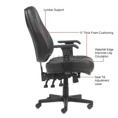 Executive Multifunctional Office Chair - Leather - High Back - Black