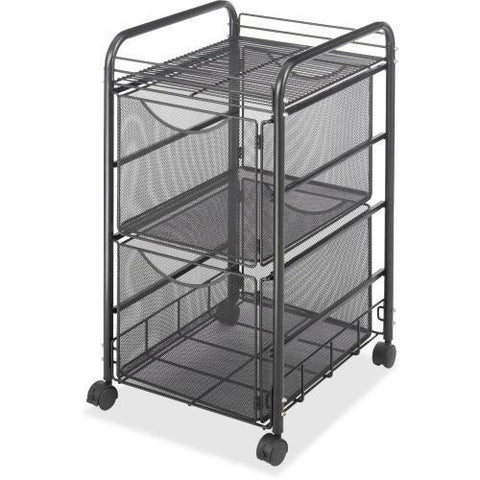 "Safco Onyx Double Mesh Mobile File Cart, 2 Shelf - 2 Drawer - 4 Casters - 1.50"" Caster Size - 15.8"" Width x 17"" Depth x 27"" Height - Black Steel Frame - Black"