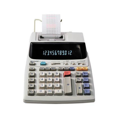 "Sharp Calculators Sharp EL-1197PIII 12 Digit Commercial Printing Calculator, Dual Color Print - 4.3 lps - Calendar, Clock, Item Count, Double Zero - 12 Digits - Fluorescent - AC Supply Powered - 8.5"" x 10.5"" x 2.8"" - White - 1 Each"