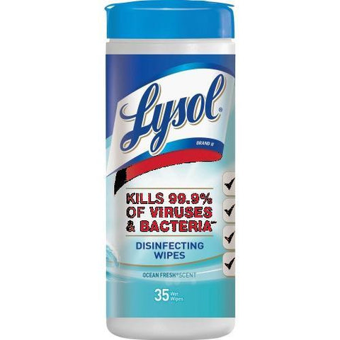 "Lysol Ocean Fresh Disinfecting Wipes, Ocean Fresh - 8"" x 7"" - White - Bleach-free, Alcohol-free, Disinfectant, Anti-bacterial, Pre-moistened - For Healthcare, School - 35 Sheets Per Tub - 12 / Carton"