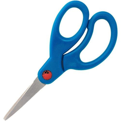 "Sparco Bent Tip 5"" Kids Scissors, 5"" Overall Length - Stainless Steel - Bent Tip - Blue - 1 Each"