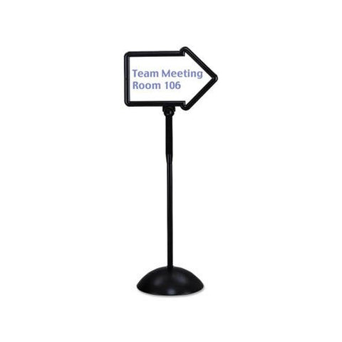 Safco Double-Sided Arrow Sign, Dry Erase Magnetic Steel, 25 1/2 x 17 3/4, Black Frame