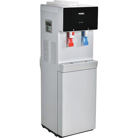 Global Bottleless Water Cooler, Hot & Cold, Non-Filtered, Silver/Black Color Finish
