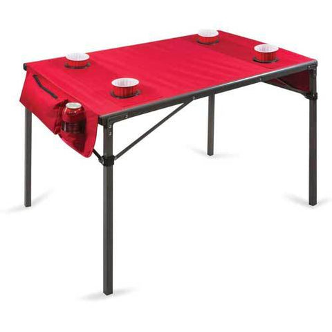 Picnic Time Soft Top Travel Table w/ 4 Cup Holders & 2 Security Pockets Red/Gunmetal Gray Frame