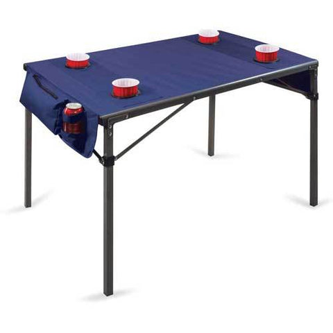 Picnic Time Soft Top Travel Table w/ 4 Cup Holders & 2 Security Pockets Navy/Gunmetal Gray Frame