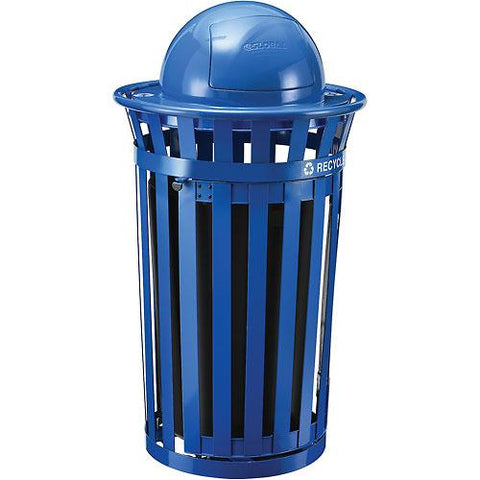 Global Industrial™ Outdoor Steel Recycling Receptacle w/Access Door & Dome Lid - 36 Gallon Blue