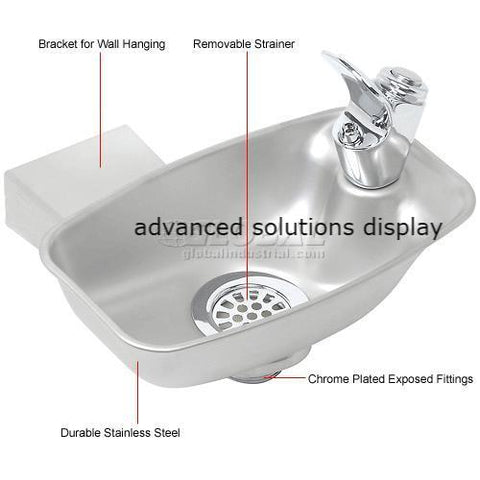 Elkay, Wall Mounted Drinking Fountain, Bracket Style, Stainless Steel, EDF15R