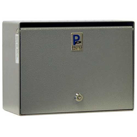 "Protex Wall Mounted Depository Drop Box SDB-250 with Tubular Lock - 12""Wx5-1/2""Dx 9""H, Gray"