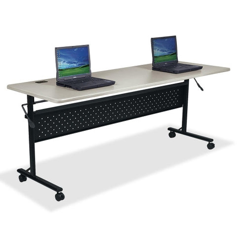 "Lorell Flipper Training Table, Rectangle Top - 60"" Table Top Length x 24"" Table Top Width x 1"" Table Top Thickness - 29.50"" Height - Assembly Required"