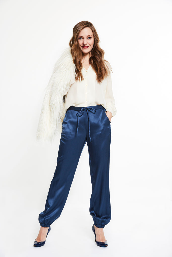 TWIG Silk Pants, Indigo Blue