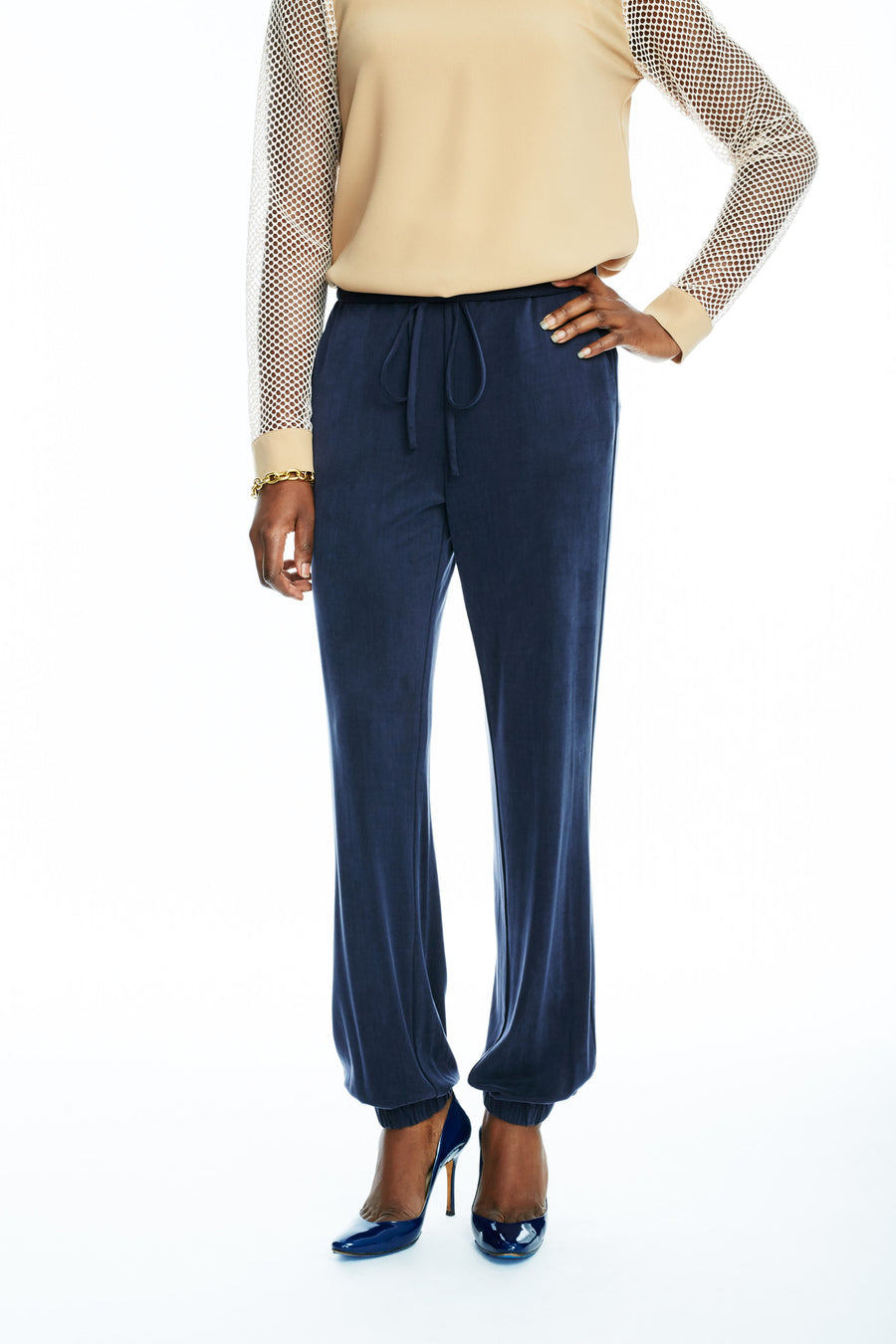 Style Shown: Tie Waist Gathered Cuff