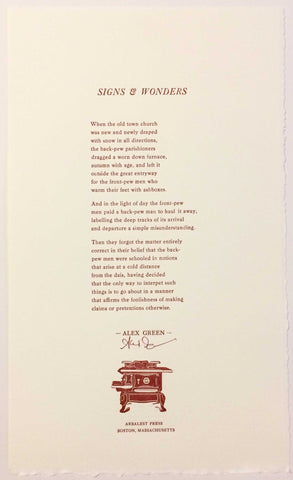 Signs & Wonders (Poetry Broadside)