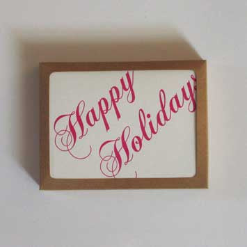 Happy Holidays Greeting Card (Red Flourish)