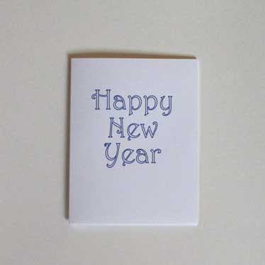 Happy New Year Greeting Card (blue outline)