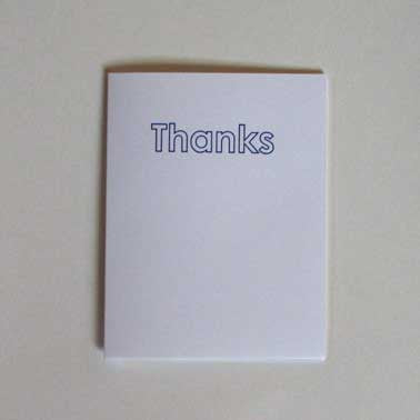 Thanks Greeting Card (Blue Outline)