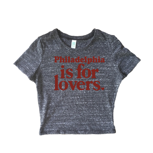 Philadelphia is for Lovers Womens Tri Blend Crop Tee Shirt - PhillyFandom t-shirt - Shirts PhillyFandom Philly Sports Tees