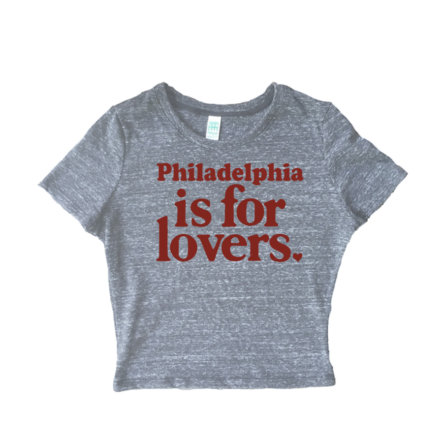 Philadelphia is for Lovers Womens Tri Blend Crop Tee Shirt
