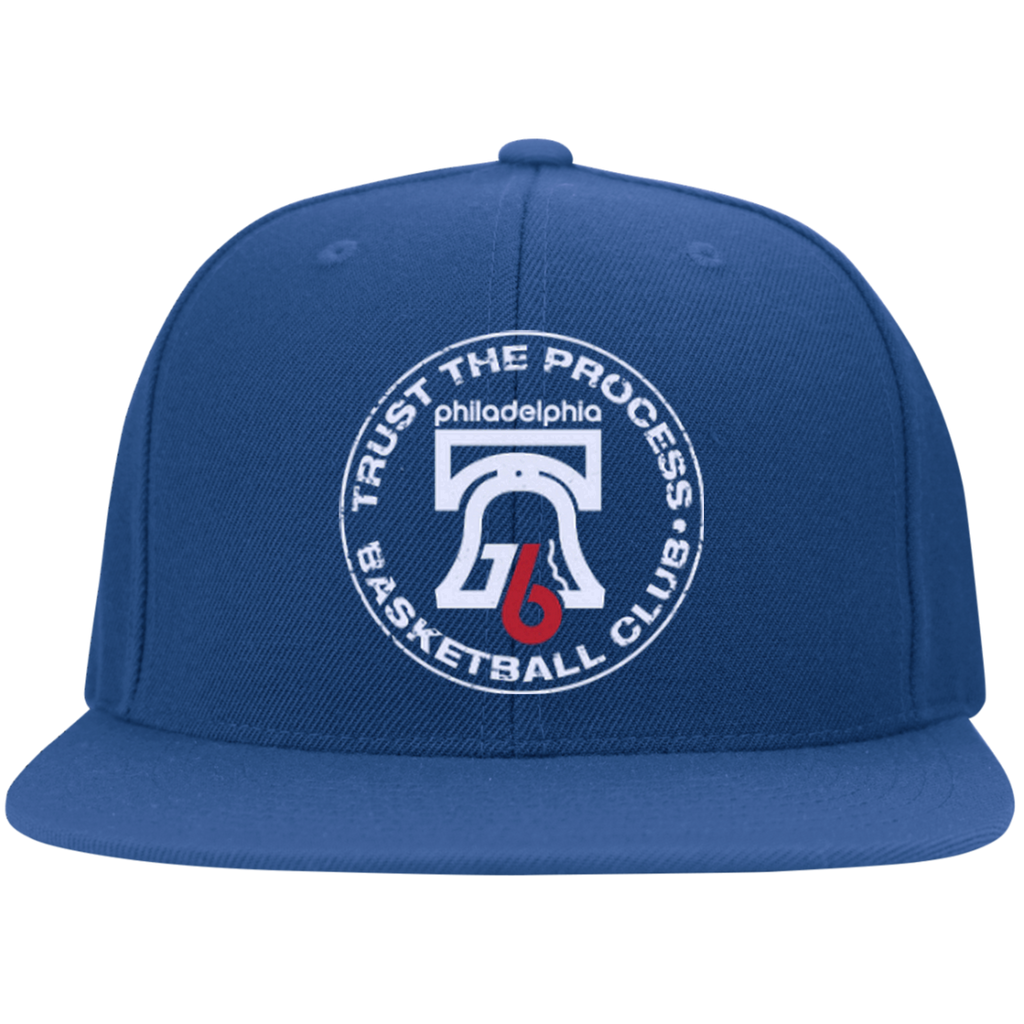 Trust the Process Hoops Club Flat Bill Twill Flexfit Cap - PhillyFandom Hats - Shirts PhillyFandom Philly Sports Tees