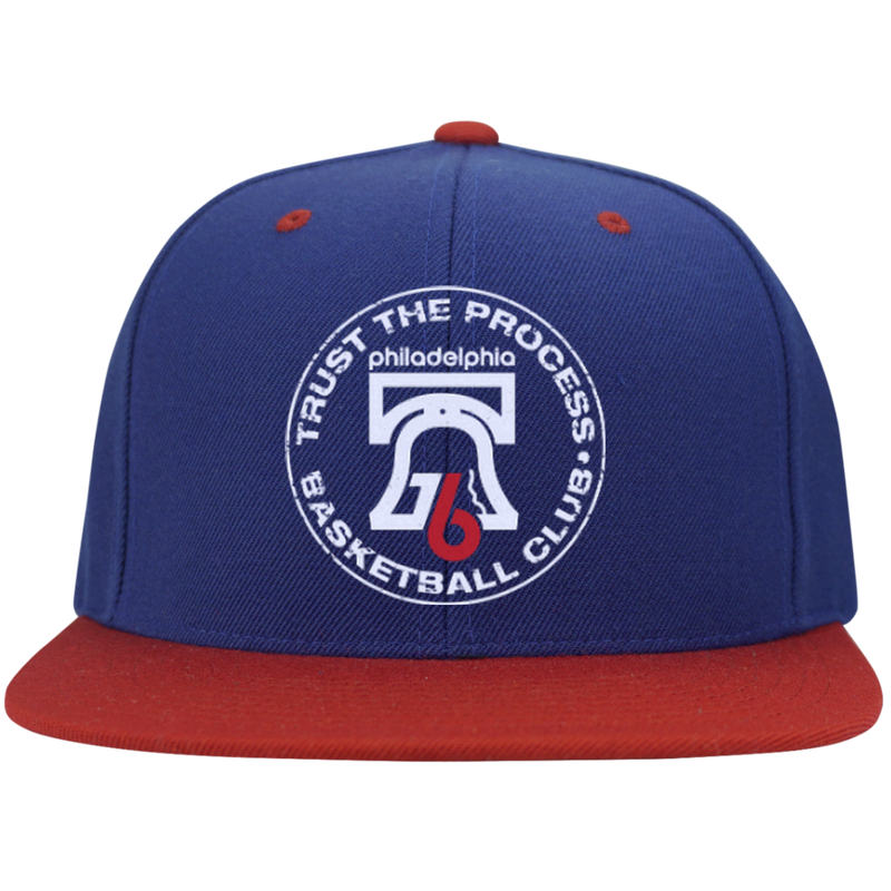 Trust the Process Hoops Club Flat Bill High-Profile Snapback Hat - PhillyFandom Hats - Shirts PhillyFandom Philly Sports Tees