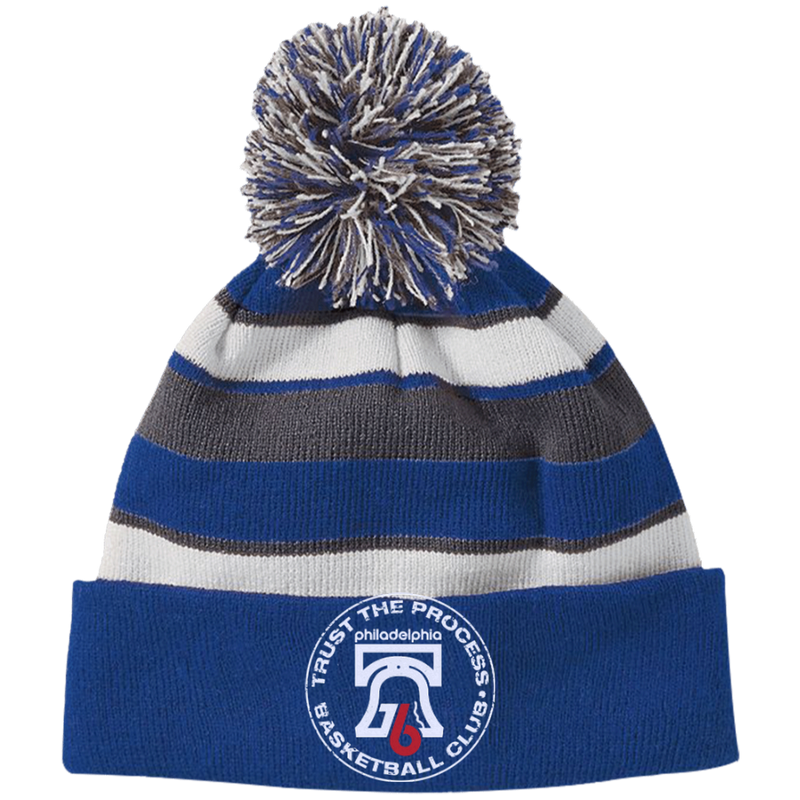 Trust the Process Hoops Club Striped Beanie with Pom - PhillyFandom Hats - Shirts PhillyFandom Philly Sports Tees