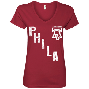PHILA Ladies' V-Neck Tee - PhillyFandom T-Shirts - Shirts PhillyFandom Philly Sports Tees