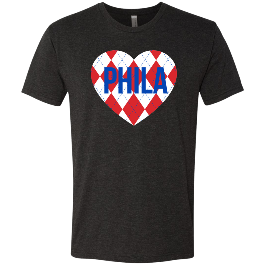 Argyle Philly Heart Men's Triblend T-Shirt