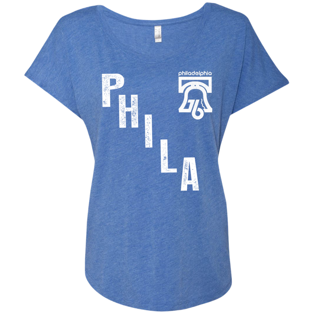 PHILA Ladies Triblend Dolman Sleeve - PhillyFandom T-Shirts - Shirts PhillyFandom Philly Sports Tees
