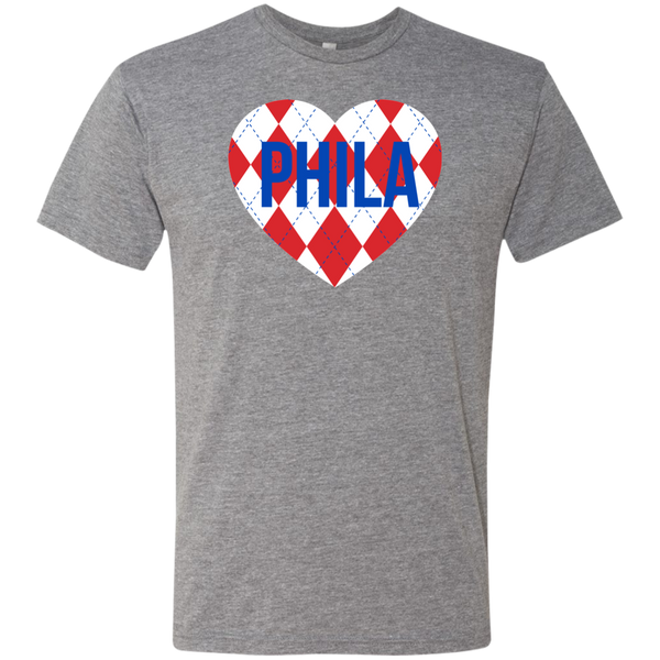 Argyle Philly Heart Men's Triblend T-Shirt - PhillyFandom T-Shirts - Shirts PhillyFandom Philly Sports Tees