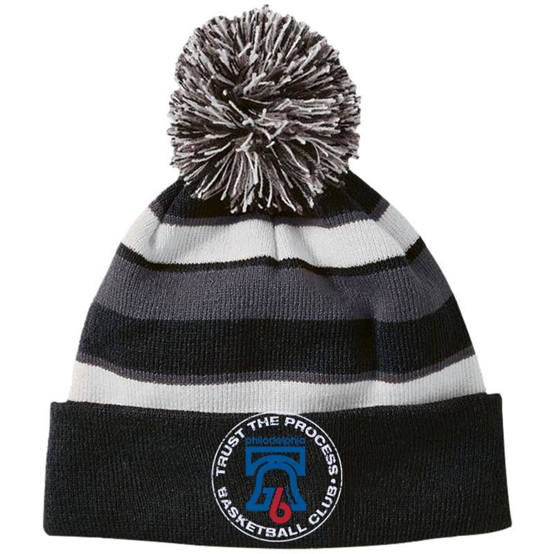 Trust the Process Striped Beanie with Pom - PhillyFandom Hats - Shirts PhillyFandom Philly Sports Tees