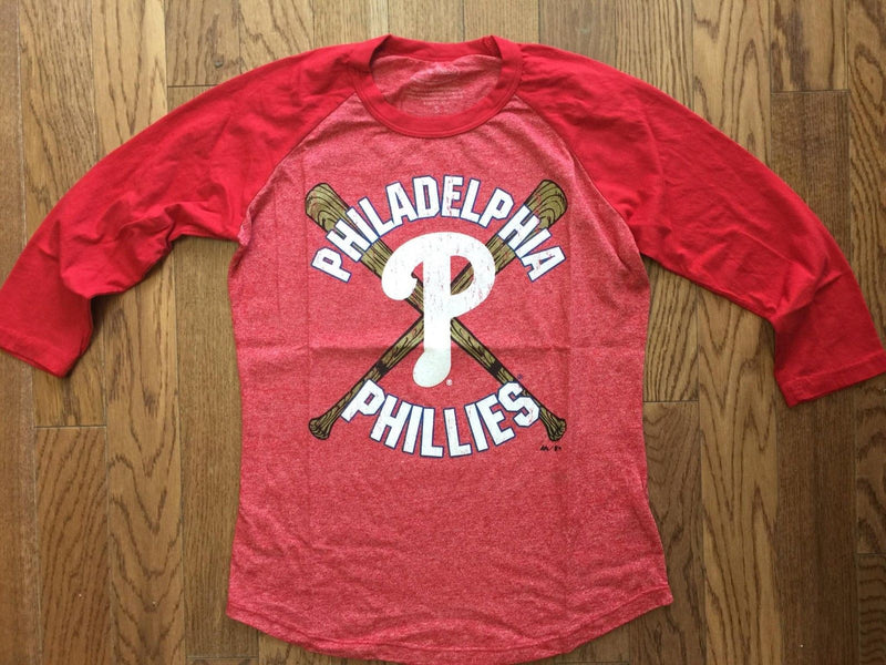 Womens Majestic Threads Vintage Inspired Philadelphia Phillies Raglan - PhillyFandom shirts - Shirts PhillyFandom Philly Sports Tees