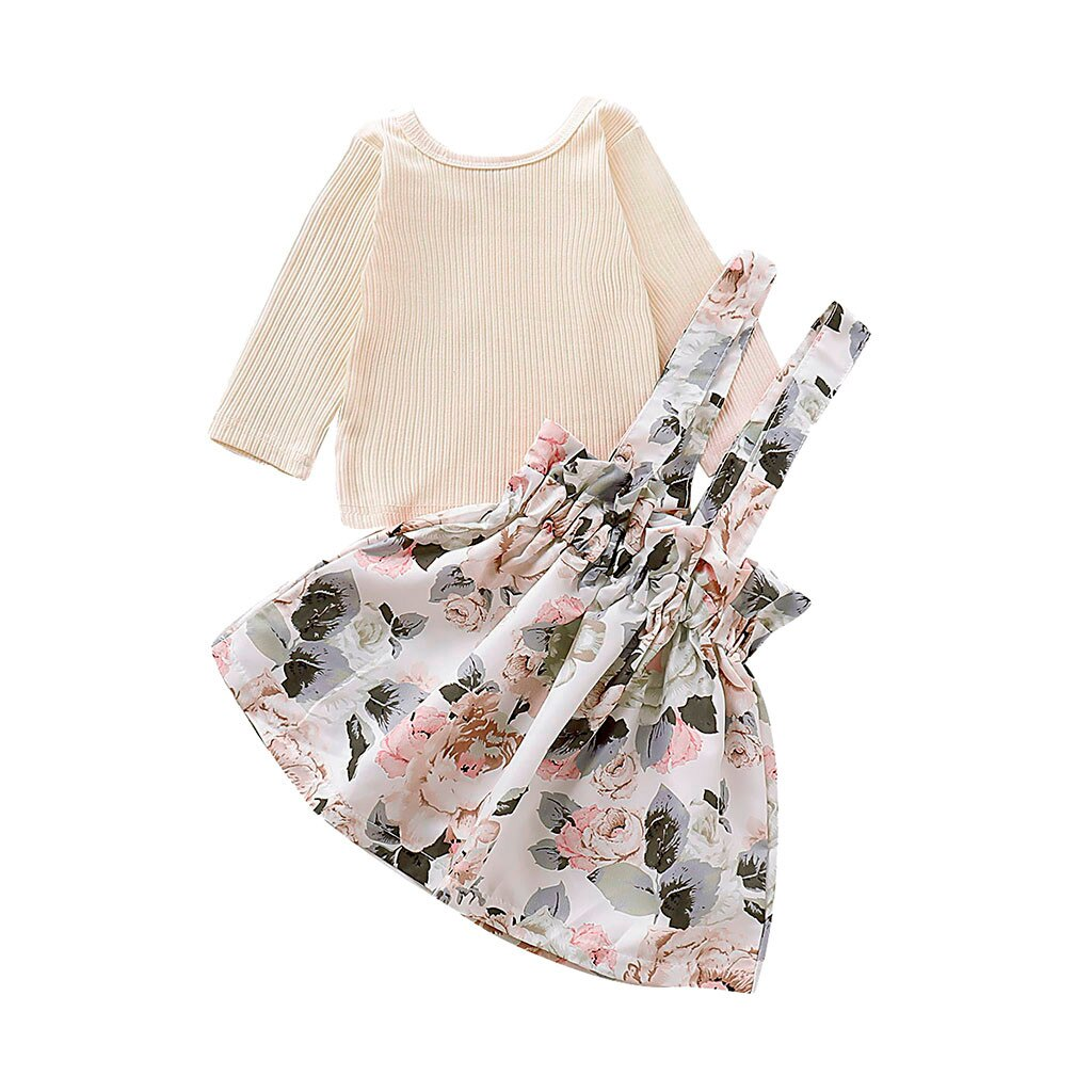 2019 Autumn Toddler Girls Clothes Long Sleeve Solid Tops+Floral Print Suspender Skirts Outfits Children's Clothing For Girls